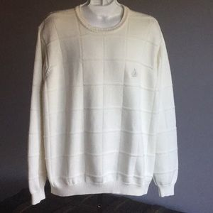 IZOD CHUNKY CABLE KNIT MENS SWEATER  IVORY   LARGE